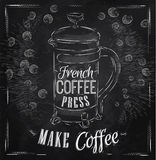 Poster French coffee press chalk. Poster lettering French coffee press make coffee in retro style stylized drawing with chalk Royalty Free Stock Photos