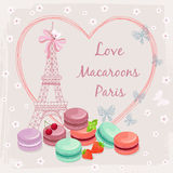 Poster with french macaroon cakes and the Eiffel Stock Image