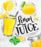 Poster fresh lemon juice Royalty Free Stock Images