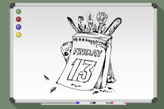 Poster for Friday the thirteenth. Sketch. Vector illustration. Poster for Friday the thirteenth on whiteboard. Vector illustration Stock Photos