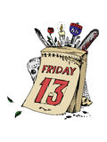 Poster of friday the thirteenth. Vector illustration. Royalty Free Stock Photo