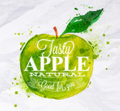 Poster fruit apple green. Poster with green watercolor apple lettering tasty apple natural good for you Stock Photo