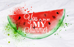Poster fruit watermelon. Poster with red watercolor watermelon lettering you are my summer Royalty Free Stock Images