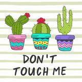 Poster with fun cacti Royalty Free Stock Images