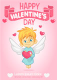 Poster with funny cupid cartoon character with bow and arrow. Vector illustration Stock Image