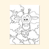 Poster with funny giraffe. Can be used for coloring book page design. Stock Photos