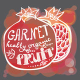 Poster garnet with leaf lettering. On a dark background Stock Images