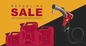 Poster for gas station with fuelling nozzel and oil canisters, template layout. Poster for gas station with fuelling nozzel and oil canisters red and black stock illustration
