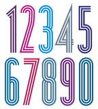 Poster geometric bright simple striped numbers Royalty Free Stock Image