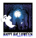 Poster with ghost for halloween Stock Photography