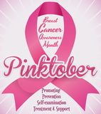 Pink Ribbon Commemorating Fight against Breast Cancer in Pinktober, Vector Illustration. Poster with giant pink ribbon for Breast Cancer Awareness Month -or Royalty Free Stock Photos