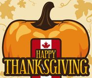 Pumpkin, Label Maple, Leaves and Vines for Canadian Thanksgiving Day, Vector Illustration Stock Photography