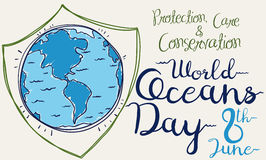 Poster with a giant Shield for World Oceans Day, Vector Illustration Royalty Free Stock Photography
