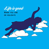 Poster.Girl on the clouds. Life is good. Stock Images