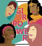Poster for girl power with women different nations royalty free illustration
