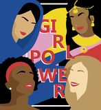 Poster for girl power with women different nations stock illustration