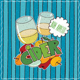 Poster with glasses of cider and bunch of apples Royalty Free Stock Photo