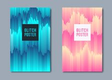 Abstract poster in glitch style. Background templates with geometric shapes. Vector illustration royalty free illustration