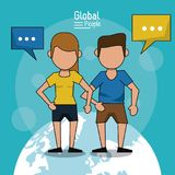 Poster of global people with blue background with faceless couple in short pants over planet earth and text dialogues. Vector illustration Royalty Free Stock Images