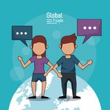 Poster of global people with light blue background with faceless couple over planet earth and text dialogues. Vector illustration Stock Images