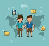Poster of global people with light blue background with map of the world and couple in closeup with information icons. Vector illustration Stock Images