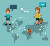 Poster of global people with light blue background with map of the world and map pointer route and communications. Networks vector illustration Stock Photo