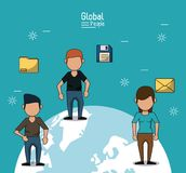 Poster of global people with light blue background with people and information over planet earth. Vector illustration Stock Photography
