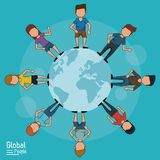 Poster of global people with light blue background of planet earth and people around her Vector ilustration. Poster of global people with light blue background Stock Images