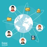 Poster of global people with light blue background with world globe and global communication links. Vector illustration Royalty Free Stock Images