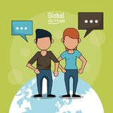 Poster of global people with light green background with faceless couple over planet earth and text dialogues. Vector illustration Stock Image