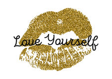 Poster with gold glitter lips prints on white background. Royalty Free Stock Images