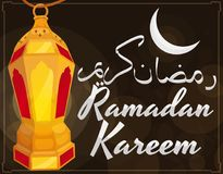 Golden Lighted Lantern with Moon and Greetings for Ramadan Celebration, Vector Illustration. Poster with golden lantern -or fanous-, crescent moon view and Royalty Free Stock Images