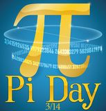 Golden Pi Symbol with its Numeric Series for Pi Day, Vector Illustration. Poster with golden Pi symbol, a part of its series value and a circumference with a stock illustration