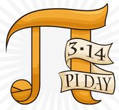 Pi Symbol with Numeric Equivalence in Date for Pi Day, Vector Illustration. Poster with golden pi symbol and a ribbon with its numeric equivalence in the date to royalty free illustration
