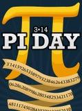 Golden Pi Symbol and Ribbon to Celebrate Pi Day, Vector Illustration. Poster with golden pi symbol and ribbon with its numeric value for Pi Day celebration in stock illustration