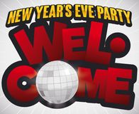 Greeting Sign with Disco Ball for New Year`s Eve Party, Vector Illustration. Poster with golden and red greeting sign with disco ball for New Year`s Eve party royalty free illustration