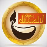 Round Button with Diya Silhouette and Ribbon for Diwali Celebration, Vector Illustration Stock Photography