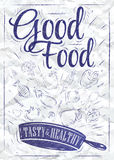 Poster good food. Ink. Poster good food with frying pan in which the products fly stylized drawing of a pen on a crumpled paper Royalty Free Stock Photos