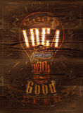 Poster good idea beer wood. Poster good idea begins with a good beer in stylized retro wooden signboard Stock Image