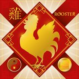 Charm with Chinese Zodiac Rooster, Metal Element and Yin Symbol, Vector Illustration. Poster with good luck charm in rhombus and ribbons with golden silhouette Stock Photography