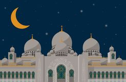 The poster grand mosque of syekh zayed arabic islamic place for pray in silhouette with moon and star on blue night background