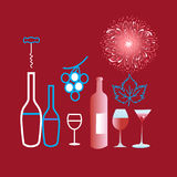 Poster graphics of different wine and glasses. On a claret background Royalty Free Stock Photos