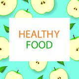 Poster with apples. Healthy lifestyle. Vector illustration. Royalty Free Stock Photo