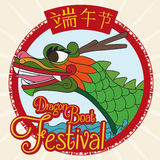 Poster with Green Dragon Boat for Duanwu Celebration, Vector Illustration Royalty Free Stock Image