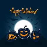 Background with the moon in the night sky, bats, pumpkins, letting with a congratulation of `Happy Halloween`. Stock Image