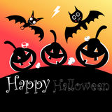 Poster for Halloween with bats and pumpkins Stock Photo