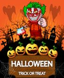 Poster of Halloween with clown holding a knif. Vector illustration. File in layers and editable vector illustration