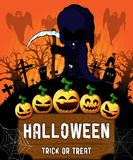 Poster of Halloween with dark reaper. Vector illustration. The file is editable and in layers Stock Photo