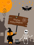 Poster for Halloween. Flat modern design with vector witch bat moon cemetery skeleton character. Girl in pumpkin costume Stock Photos