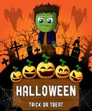 Poster of Halloween with Frankenstein. Vector illustration. File in layers and editable vector illustration